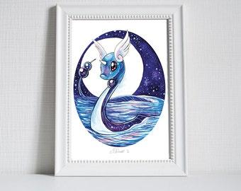 Dragonair - Pokemon Water Colour Print