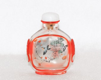 Overlaid Peking Glass Inside Painted Snuff Bottle with Carved Masks