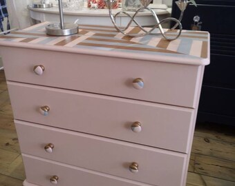 SOLD - Hand painted pine Chest of Drawers.
