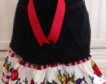 Denim half apron, ant picnic ruffle, red ribbon ties, long waist ties, black denim apron, women's half apron, repurposed denim, ant picnic