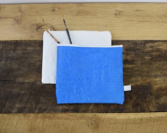 Cosmetic Bag, Recycled Grocery Bags, Blue, Zipper