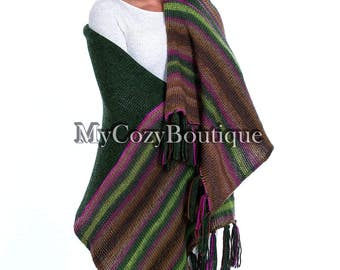 Chunky knit scarf | Knit oversized shawl - green knitted shawl - oversized scarf - women gift - wool blanket shawl wrap - wool wrap scarf