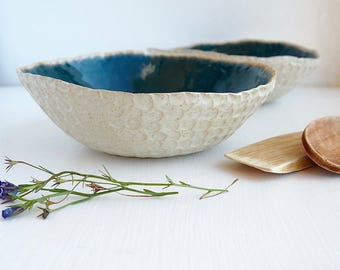 Handmade Oatmeal and teal ceramic bowl, pottery cereal bowl, oatmeal serving bowl, oatmeal tableware, pottery bowl, ceramic serving bowl
