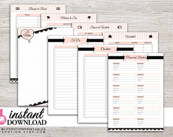 A5 Planner Printable - To Do - Notes - Password Tracker - Lists - Filofax A5 - Kikki K Large - Design: Mademoiselle