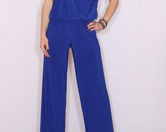 Cobalt blue jumpsuit Sleeveless jumpsuits women Wrap top