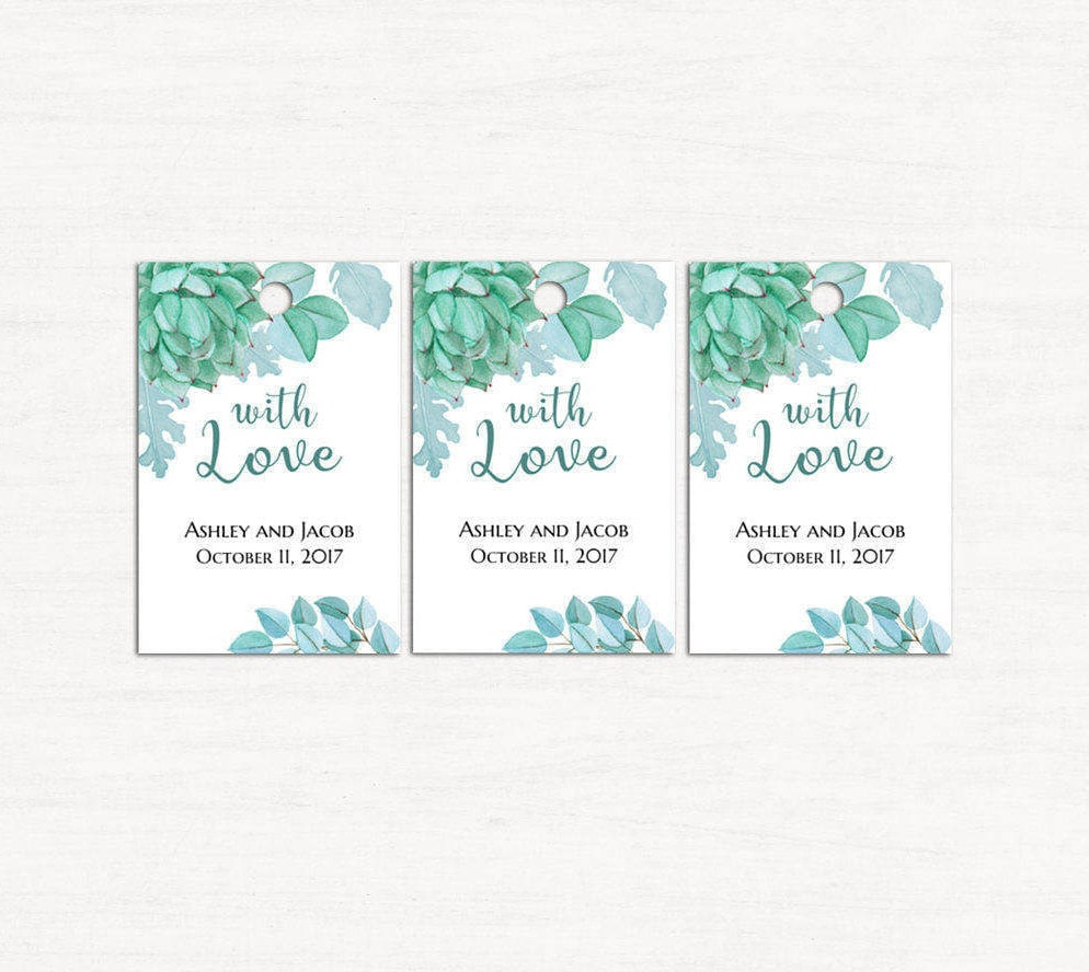 Succulent wedding tags template Mint gift tags printable With love ...