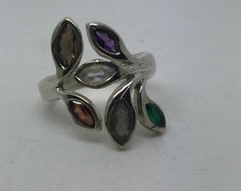 silver ring with gemstone,gemstone ring,gemstone jewelry,multistone ring,mulristone jewelry,silver stone ring,boho ring,statement ring
