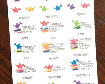 The Book Dragon's Reading Challenge Planner Stickers - Reading Challenge Planner Stickers- Reading Bucket List Stickers - Reading Stickers