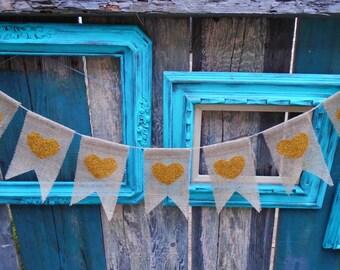 Heart Burlap Banner Garland Gold Glitter