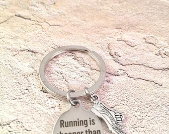 Running shoe keychain, running keychain, marathon keychain, running therapy, 5K keychain, runners keychain, gift for runner