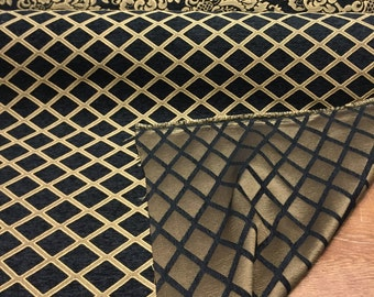 Chenille Black Gold Diamond furniture Upholstery fabric by the yard