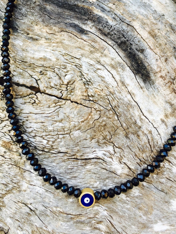 Black Crystal & Evil Eye Necklace