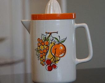 Vintage Juice Pitcher and Reamer/ Orange Kitchen/ Fruit/ Mid Century/ Modern