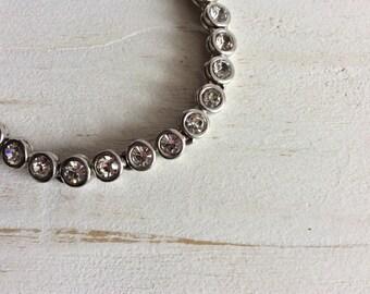Vintage Style Bracelet - Silver Tone Diamante Bracelet - Costume Jewellery Bracelet - Wedding Jewellery - Vintage Bracelet