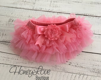 Coral Pink tutu skirt bloomers diaper cover, embellished coral shabby flower, ruffles all around, newborn infant toddler little baby girl