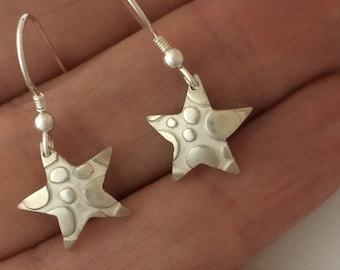 Star Droplet Earrings in Fine Silver | Handmade Solid Silver Dangly Star Earrings | Small Silver Star Earrings | Silver Star Drop Earrings