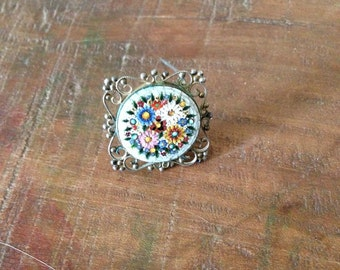 RESERVED Vintage Italian Micro Mosaic Filigree Brooch 800 Silver with C-Clasp,