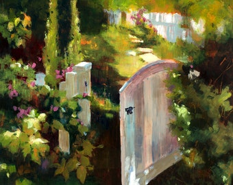 Garden Gate Painting, Gate Painting, White Gate Oil Painting, Garden Oil Painting