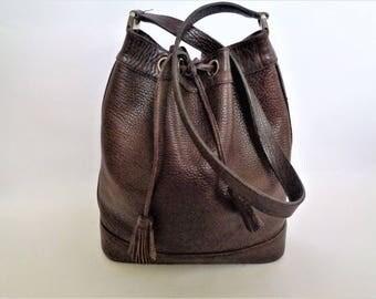 Brown leather Bucket bag, Leather bucket bag, Leather shoulder bag, Dark brown bag, Cross body bucket bag