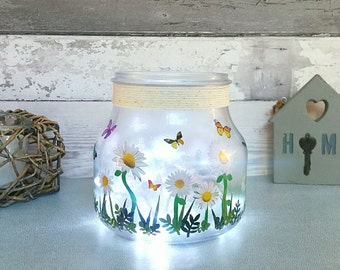 Butterfly Jar, Table Lamp, Daisies light up jar, Gifts for her, Floral Decor, summer gifts, New home present, Mums birthday, butterflies