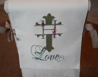 Custom Made Christian Chair Cover / Bib - Monogram