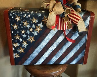Vintage Upcycled luggage, Americana, USA, embellished luggage, suitcase, handmade, decor, 4th of July, American Flag, red, white and blue