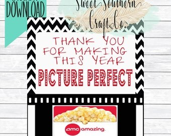 INSTANT DOWNLOAD*Thank You For Making This Year Picture Perfect!Movie Gift Card Printable,AMC,Teacher Appreciation,End Of Year,Redbox