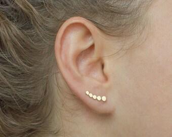 Small ear climber - dainty gold ear climber - gold circle ear climber - minimal ear climber - minimal gold earrings - delicate ear climbers