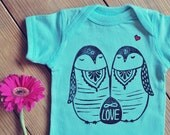 Penguine bodysuit, Mint onepiece,  Bohemian baby boy or girl, Infinite love, hipster baby, Baby reveal outfit, Sun and Moon onepiece,
