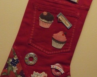 Unique repurposed lined stocking for the baker who has every thing!