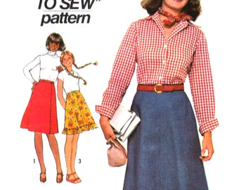 70s Simplicity 7870 Teens' Set of Front Wrap Skirts with Waistband & Optional Ruffle, Uncut, Factory Folded, Sewing Pattern Size 8 or 11-12