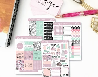 Horizontal Kit - Lady Boss - Floral, Spring, Girl Boss Planner Sticker Kit - Weekly Sticker Kit  Glossy or Matte Horizontal Planner LBKH