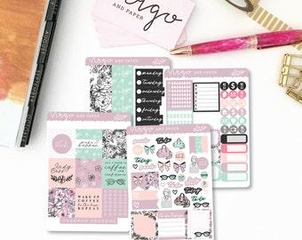 Horizontal Kit - Lady Boss - Floral, Spring, Girl Boss Planner Sticker Kit - Weekly Sticker Kit  Glossy or Matte Horizontal Planner LBKH