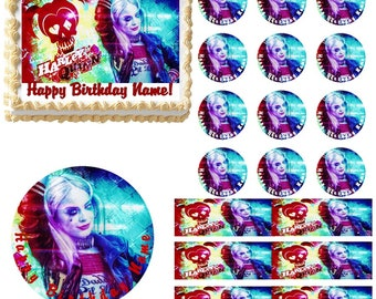 Harley Quinn Edible Cake Topper Image, Harley Quinn Cupcakes, Harley Quinn Party Supplies, Harley Quinn Cake, Edible Cake, Edible Image