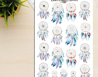 Watercolour Dreamcatchers Planner Stickers | Watercolour Stickers | Dreamcatchers Stickers | Watercolour Feathers (S-232)