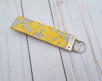 Keychain Wristlet Key Fob, Key Chain, Floral Fabric, Yellow and Gray, Gift Under 10, Ready to Ship