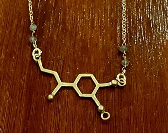 Adrenalin Molecule Brass Necklace