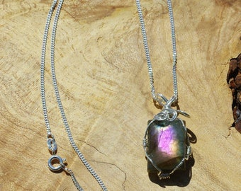 Labradorite  Iridescent Flashing Stone Pendant on a Sterling Silver Chain ~ Grey Purple Blue Yellow Stone ~ Sterling Silver Wired Necklace