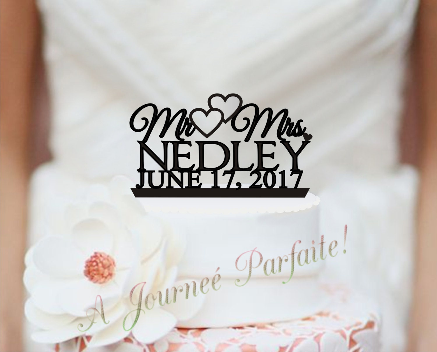 Mr & Mrs Wedding Cake Topper Custom Personalized with Name and