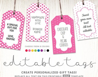Editable Gift Tags, Gift Tag Template, Text Editable, Polka Dots, Gift  Labels