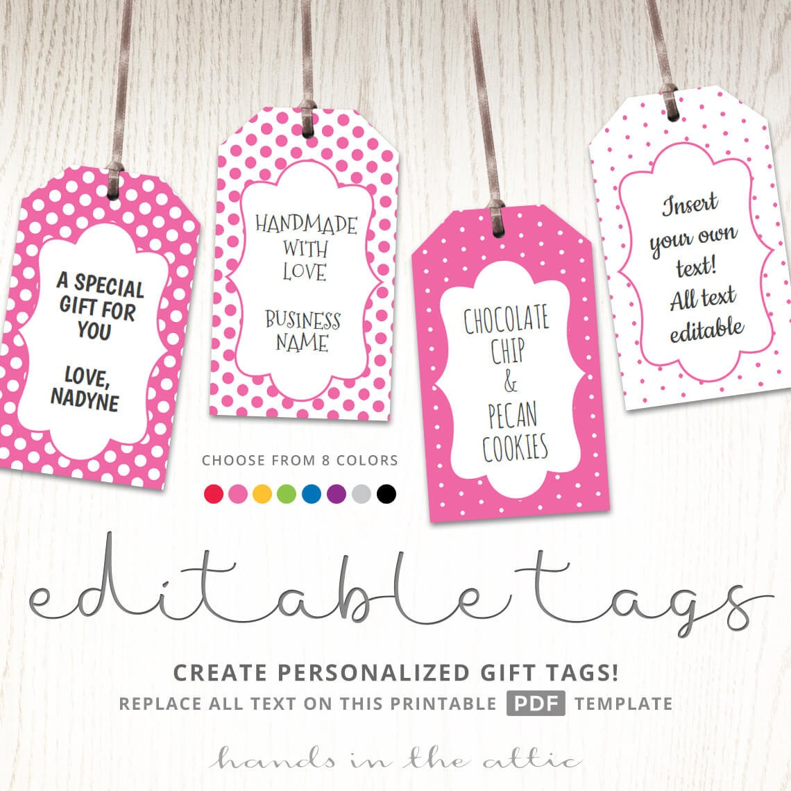 editable gift tags  gift tag template  text editable  polka dots  gift labels  hang tags