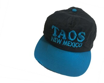 Taos New Mexico Hat Vintage Hat 80s Hat Nylon Hat Taos Hat New Mexico Hat Vintage Trucker Hat Vintage Baseball Hat 90s Hat Black and Blue