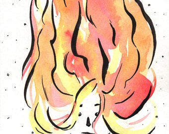 Firehead, 4x6 Original Watercolor Ink Illustration