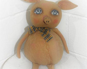 Coffee Stained Piggie Rag Doll with Bow