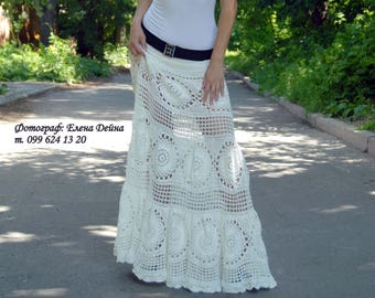 Crochet White Maxi Skirt Bohemian Cotton Long Skirt