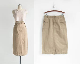 vintage cotton cargo skirt / tan safari skirt / high waisted knee length skirt with pockets / womens M - L