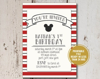 Mickey Mouse Birthday Invitation, DIY Printable Kid's Birthday Invitation, Mickey First Birthday Party Invitation, Kid Disney Invitation