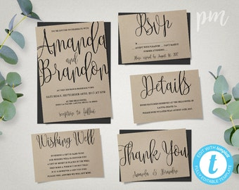 Wedding Invitation Template Suite, Calligraphy Script Printable Invitation, Instant Download DIY Wedding Invitations