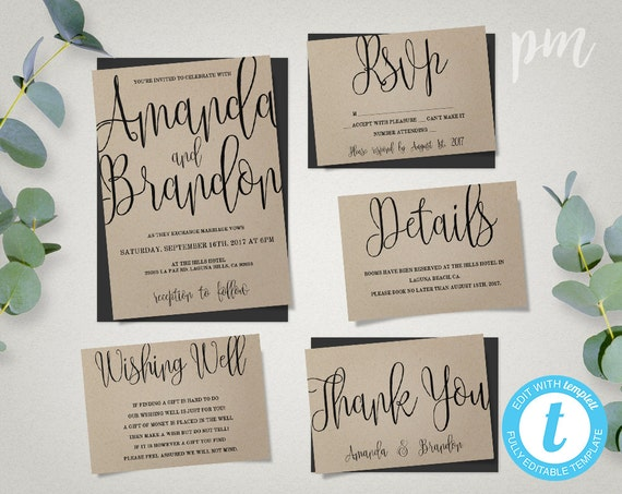 Wedding Invitation Template Suite Calligraphy Script
