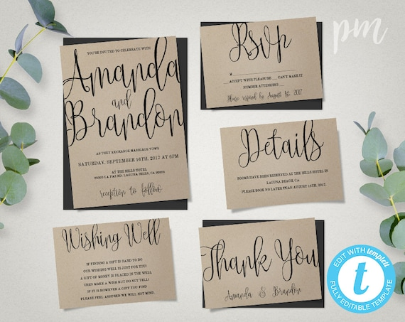 Design Your Own Wedding Invitations Template: Wedding Invitation Template Suite Calligraphy Script